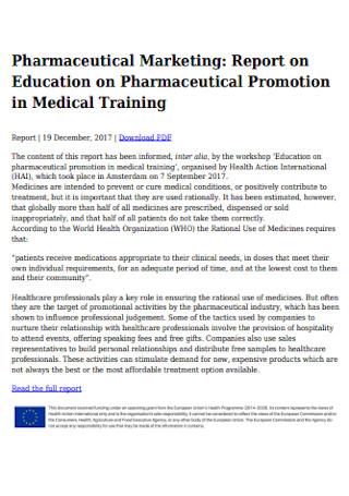 Pharmaceutical Marketing Report