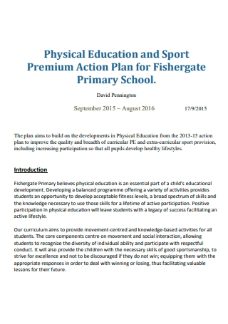 Physical Education and Sports Premium Action Plan