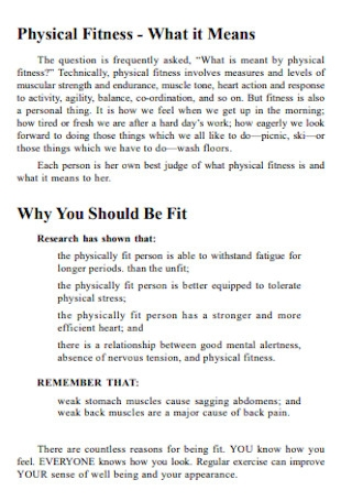 Physical Fitness Plan