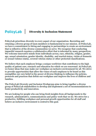 Policy Lab Diversity and Inclusion Statement