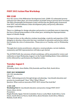 Post Workshop Action Plan