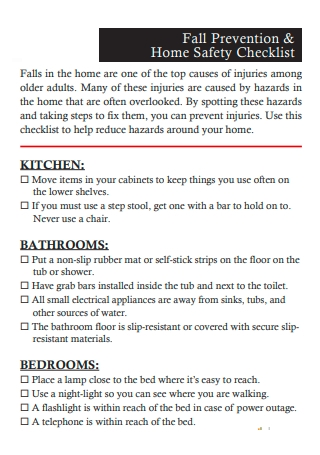 Prevention and Home Safety Checklist
