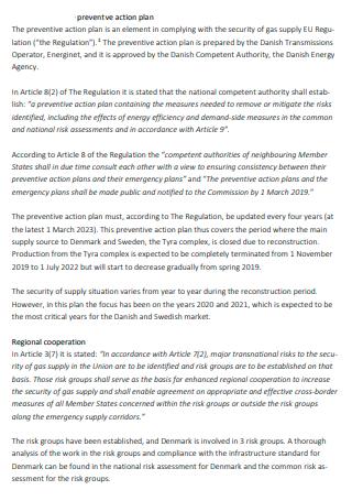 Preventive Action Plan in PDF
