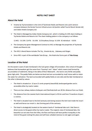 Printable Hotel Fact Sheet