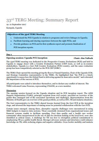 Printable Meeting Summary Report