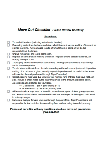 Printable Move Out Checklist
