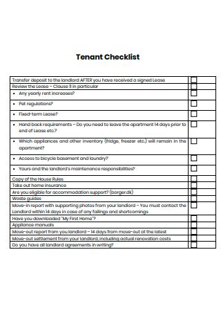 Printable Tenant Checklist