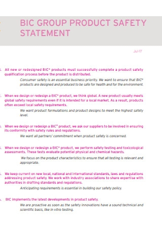 Product Safety Statement