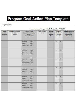 Program Goal Action Plan Template