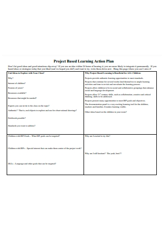 Project Based Learning Action Plan