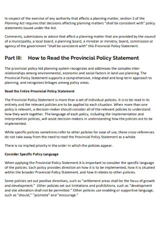Provincial Policy Statement
