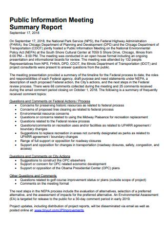 Public Information Meeting Summary Report