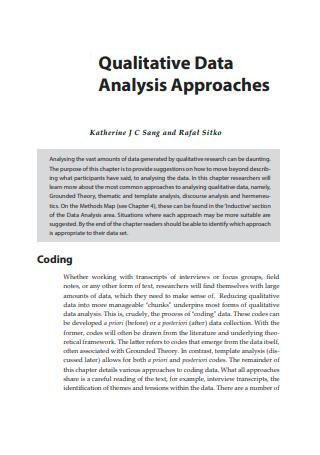 Qualitative Data Analysis Approaches