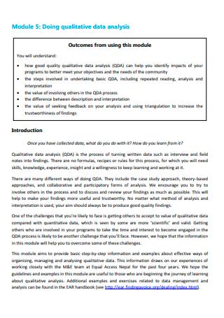 Qualitative Data Analysis Module