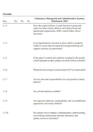 Quality Control Laboratory Audit Checklist