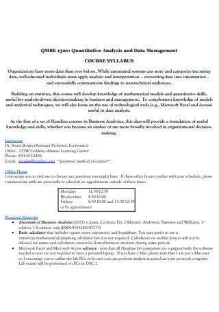 Quantitative Data Management Analysis