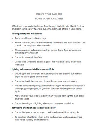 Reduce Risk Home Safety Checklist