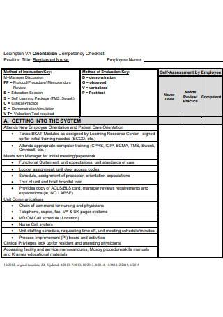 Registered Nurse Orientation Competency Checklist