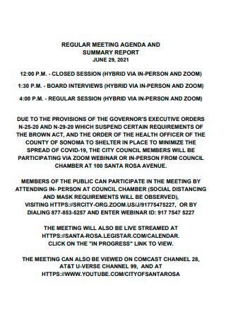 Regular Meeting Agenda and Summary Report