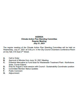 Regular Meeting Climate Action Plan
