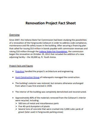 Renovation Project Fact Sheet