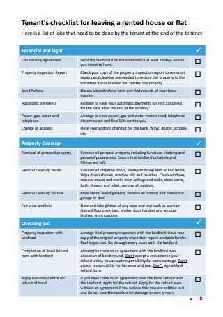 Rented House Tenant Checklist