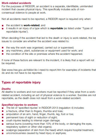 Reporting Accidents at work