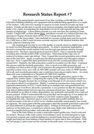 Research Status Report in PDF