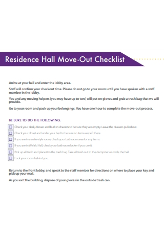 Residence Hall Move Out Checklist