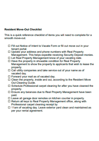 Resident Move Out Checklist