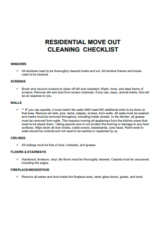 Residential Move Out Cleaning Checklist