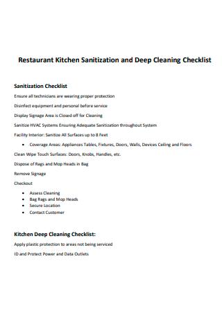 Restaurant Kitchen Sanitization and Deep Cleaning Checklist