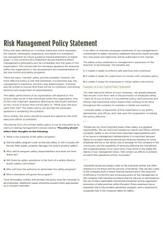 Risk Management Policy Statement