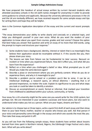 Sample College Admission Essay