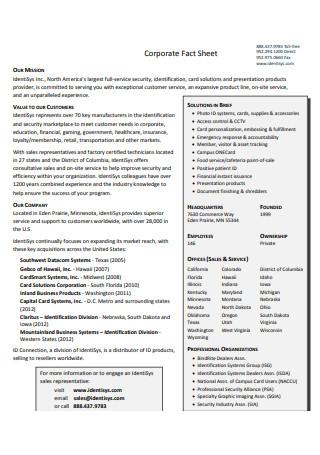 Sample Corporate Fact Sheet