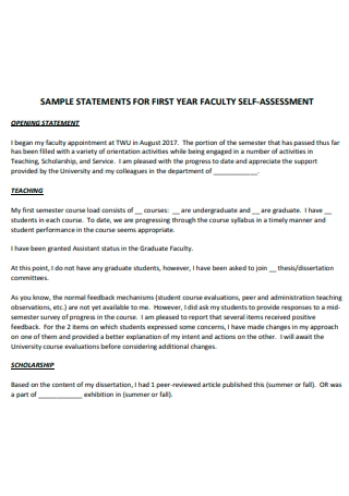 Sample Faculty Self Assessment