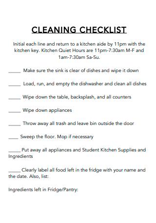 Sample Kitchen Cleaning Checklist