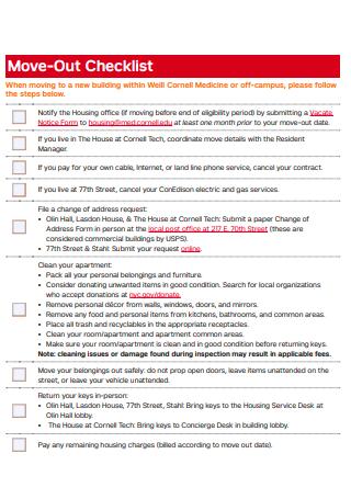 Sample Move Out Checklist