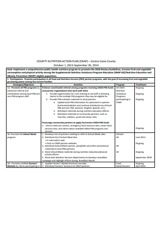 Sample Nutrition Action Plan