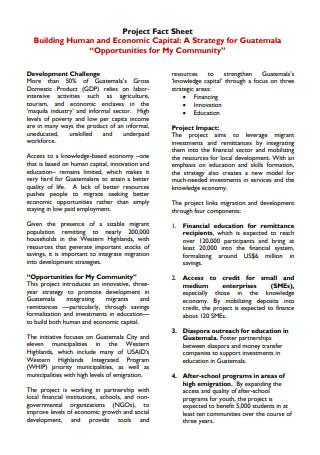 Sample Project Fact Sheet