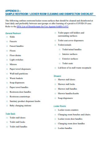 Sample Restroom Cleaning Checklist