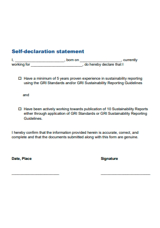 Sample Self Declaration Statement