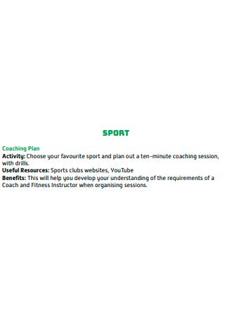 Sample Sports Coaching Plan