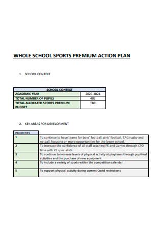 School Sports Premiun Action Plan