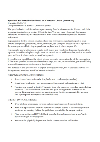 Self Introduction Speech in PDF