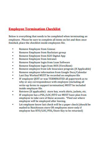 Simple Employee Termination Checklist