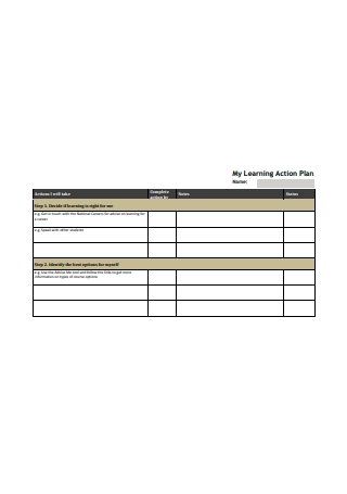 Simple Learning Action Plan