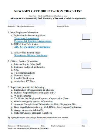 Simple New Employee Orientation Checklist