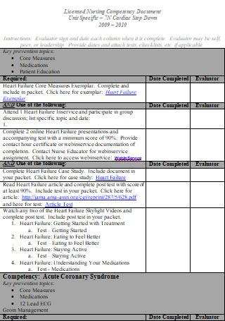 Simple Nurse Competency Checklist