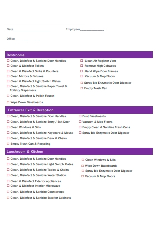 Simple Office Cleaning Checklist